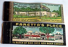 2 Vintage Advertising Match Book -- Cafe / Restaurants