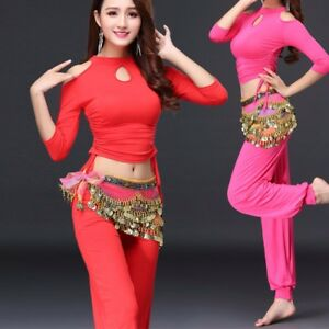 Belly Dance Costume Yoga Dancer Training Outfit Dance Practice Full Clothing Set