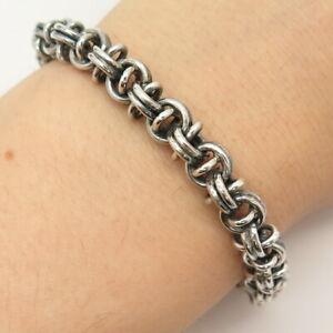 """925 Sterling Silver Vintage Modernist Rolo Link Bracelet 6.5"""""""