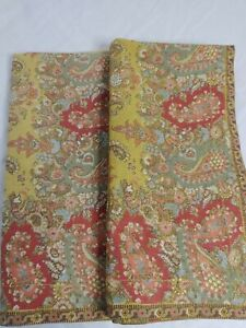 "2 Pottery Barn Gold Multi Paisley Fabric Napkins Cotton/ Linen 20""x20"" (#131)"