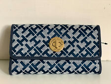 NEW! TOMMY HILFIGER BLUE CONTINENTAL CHECKBOOK CLUTCH PURSE WALLET SALE