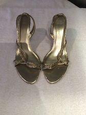 Ladies - Gold & Diamanté Sling Backs - Size 6