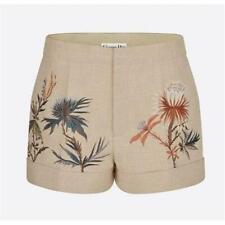 Christian Dior 2020 SS Beige Linen Blend Floral Embroidered Shorts  F 34/US 2