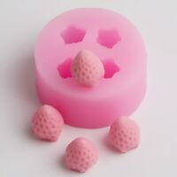 4 Hole 3D Handmade Strawberry Silicone Mold Fruit Mold Cake Decoration Fondant