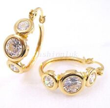 Clear CZ Cubic 18K Yellow Gold Plated Holiday Birthday Women Big Hoop Earrings