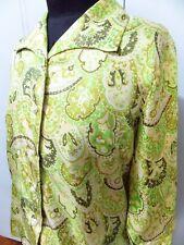 Vintage 1950s Size 34 Hanana Tokyo Green & Brown Paisley Women's Top- 47cm Bust
