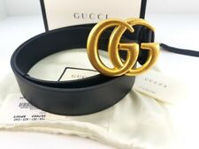 GUCCI Unisex Belt GG GOLD buckle black leather 397660 APOOT 1000  size 38