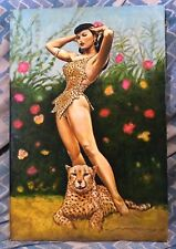 MARCUS BOAS~BETTIE PAGE WITH CHEETAH~NEW OIL PAINTING!