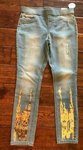 NWT Girls Justice Jean Legging Mid Rise with Sequin