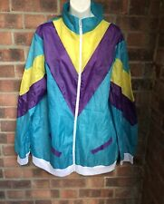 Teal Purple & Yellow Thin Shell suit Jacket - Size 20 - 22 - FOXXEO FASCHING