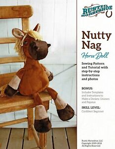 """Cloth Doll Pattern """"Nutty Nag"""" Horse Doll By Rustic Horseshoe"""