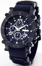 JOJINO JOE RODEO MENS DIAMOND WATCH CHRONO DATE BLACK RUBBER BAND + EXTRA BANDS!