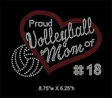 Proud Volleyball Mom with Custom Number rhinestone transfer bling