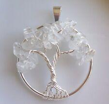 Handmade Tree of Life Necklace Pendant Quartz Crystal Silver April Birthstone US