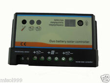20A Dual Battery Solar Panel Charge Controller/Regulator, PWM 12/24V