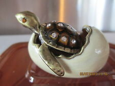 TURTLE HATCHING FROM EGG   ENCRUSTED WITH AUSTRIAN  CRYSTALS  2 PIECE