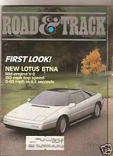 Road & Track Jan 1985 - First Look - Lotus ETNA - Honda Elf - Peugeot 505 Turbo