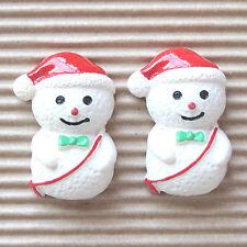 "US SELLER - 10 pcs x (1.25"") Resin Snowman w/Santa's Hat Flatback Beads SB445A"