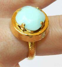 Yellow Gold 24K Plated With Amazing Swarovski Crystal Stone Ring Sz 8