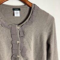J Crew Wool Cashmere Blend Women's Sweater Cardigan Ruffle Medium