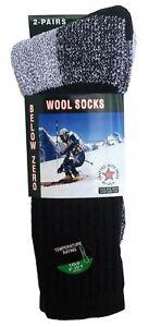 2 Pairs Men's Merino Wool Thermal Socks Fits 10-13 Winter Outdoor Heavy Duty USA