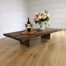 Vintage Industrial Coffee Table Rustic Reclaimed Plank Top bench set Living