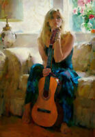 ZOPT646 handing violin lady sitting sofa hand painted art OIL PAINTING CANVAS
