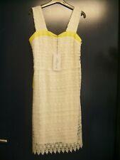 "Robe en dentelle ""Jus d'Orange"" blanche et jaune fluo T 36 neuve val. 75 E"