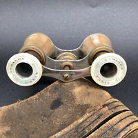 Vintage LaMayre Paris Mother of Pearl Opera Glasses with Leather Case