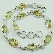 925 Solid Sterling Silver CITRINE Gemstones Lovely Bracelet Best Friendship Gift