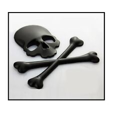 3D Black Skull n Cross Bones Logo Emblem Sticker Real Metal -Not Plastic