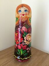 New Russian Souvenir Wooden 1 Piece Matryoshka Bottle  Hand Painted 22cm