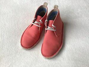 Clarks Originals⭐️Ladies Girls Size 3 Canvas Aerial Desert Boots ⭐️Excellent ⭐️
