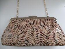 Urban Expressions Vegan Faux Snakeskin Brown Tan Clutch Purse Handbag Chain