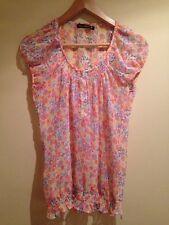 Select Top Tshirt Floral Print Sheer Gathered Hem Size 10 <K1176