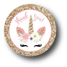 30 Unicorn Face Thank You! Birthday Party Favors Treat Bag Stickers