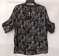 Harve Benard Women's Shirt Top size 14/16/L White Black Print Blouse New $79