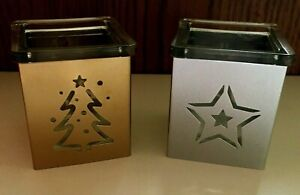 2 Square Glass W Silver & Gold Color Metal Sleeve Xmas Tree Star Votive Holders
