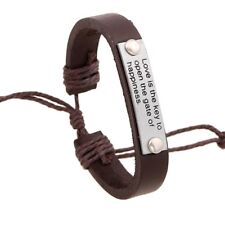 Brown Engraved Leather Bracelet Love is the key to open the gate of happiness
