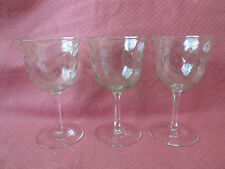 VINTAGE 3 ELEGANT CORDIAL DRAPED GREEN DEPRESSION W WHITE STEAMED GLASS