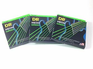 DR Guitar Strings 3 Pack Electric Neon Green 09-42 Light