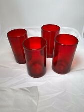 8 Red Tumblers / Glasses, 5 3/4 Inch Height, 10 1/2 Round, Thick Glass