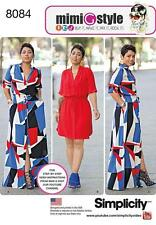 Simplicity 8084 Plus Size 20W--28W Mimi G Style Shirt Dress Uncut Two Lengths