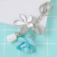 Women/Girl Charm Car Bag Keychain Tassel Cute Crystal Key Ring Flower Key Chain