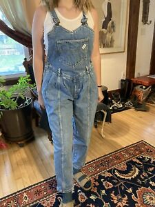 Vintage 80s Guess Overalls Made In USA Size 3 Light Wash Denim Jeans