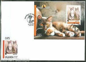 UGANDA 2014 DOMESTIC ANIMALS CATS  S/S FIRST DAY COVER