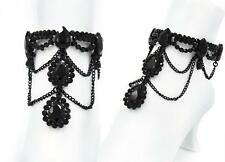 Black Rhinestone Teardrop Stretch Anklet