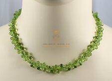 Peridot-Kette - Peridot Collier in Tropfenform facettiert 45 cm lang