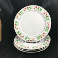 Set of 4 Vintage ROYAL NORFOLK Christmas Holly Berry Dinner Plates