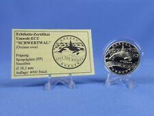 Save the Whales  Umwelt - ECU 1995 Schwertwal , Neusilber PP mit COA  ( S 87  )